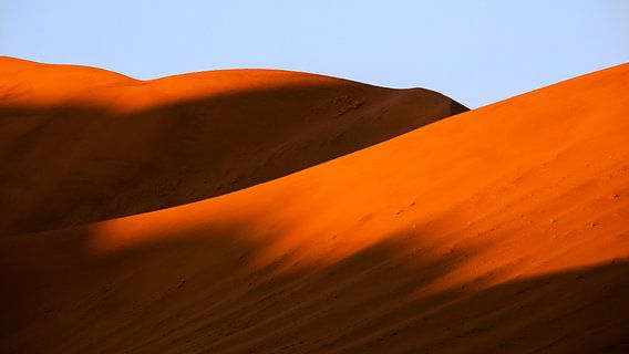 Schaduw op rode zandduinen in de Sossusvlei, Namibië