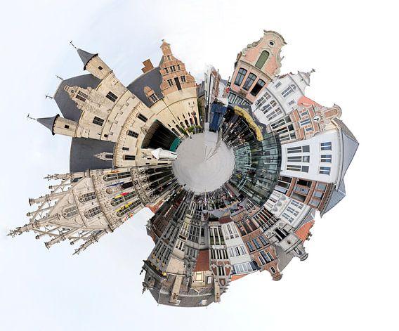 Grote Markt Mechelen België in een kleine planeet van Cora Unk
