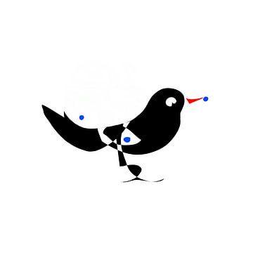 Zwarte vogel met blauwe bessen van Csilla Albert