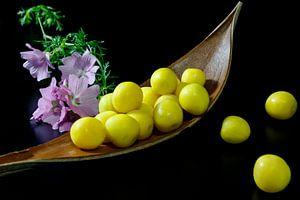Blumen und Obst