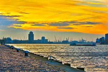Zonsondergang Rotterdamse Haven  van Dexter Reijsmeijer