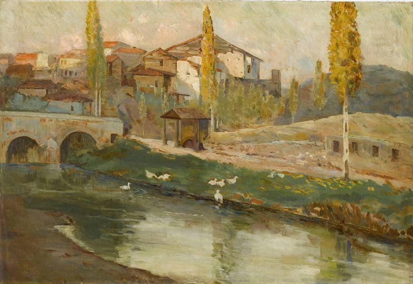Mehmet Ali Laga (Türkisch, 1878-1947)~Landschaft mit Brücke von finemasterpiece