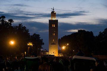 Koutoubia moskee sfeervol Marrakech Marokko sur Keesnan Dogger Fotografie