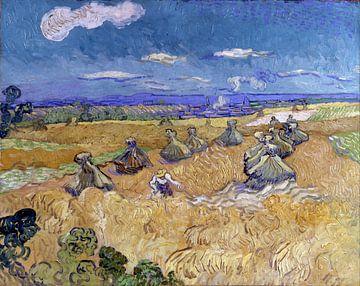 Weizenfeld mit Bauern in Auvers – Vincent van Gogh von 1000 Schilderijen