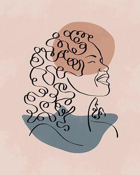Minimalistische lijntekening van een vrouw met lang haar met twee organische vormen van Tanja Udelhofen