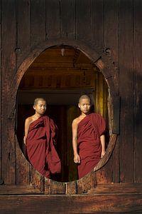 Jonge boedhistische monniken bij een houten raam in Myanmar van