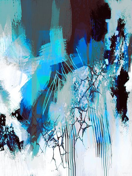 Abstractie, Blauwe waterval. van SydWyn Art