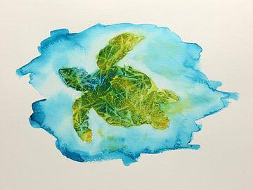Schildpad in de zee van Natalie Bruns