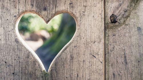 Uitgesneden Hartvorm in decoratieve houtsoort
