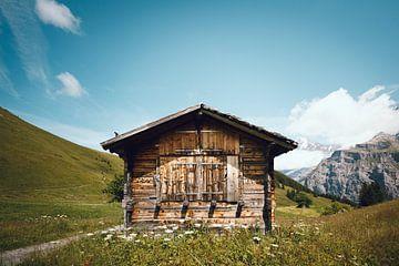 Holzhütte in den Bergen, Schweiz   Verlassenes Haus in den Schweizer Alpen   Grüne und blaue Reisefo von Ilse Stronks   Lines and light inspired travel photography