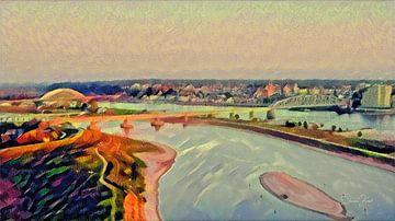Sprookjesachtig Schilderij Nijmegen Skyline met Waalbrug