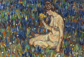 Frauenakt mit gelbem Blumenstrauß (Mädchen auf der Wiese), Christian Rohlfs, Um 1905 von Atelier Liesjes