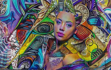 Street art urban Girl van Rudy en Gisela Schlechter