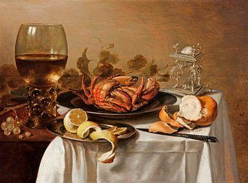 Ein Stilleben mit einem Römer, einer Krabbe und einer geschälten Zitrone, Pieter Claesz.