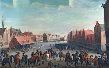 Utrecht, Prinz Maurice von Oranien feuert Söldner auf Neudeplein, Joost Droochsloot - 1625 von Atelier Liesjes
