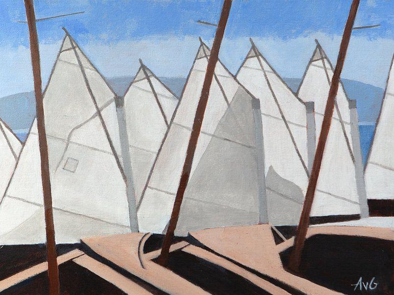 Segelschule in Nizza Fr. von Antonie van Gelder Beeldend kunstenaar