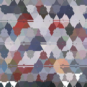 Abstract driehoeken in rood blauw en grijs van Maurice Dawson