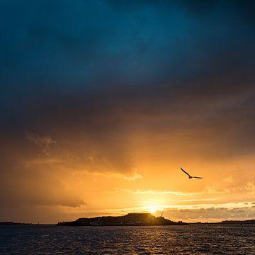 Festungsinsel IJmuiden mit untergehender Sonne von Keesnan Dogger Fotografie