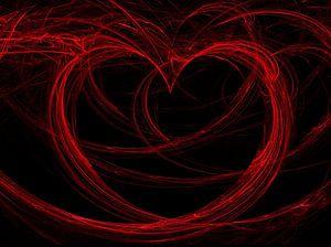 Rood hart op een zwarte achtergrond van