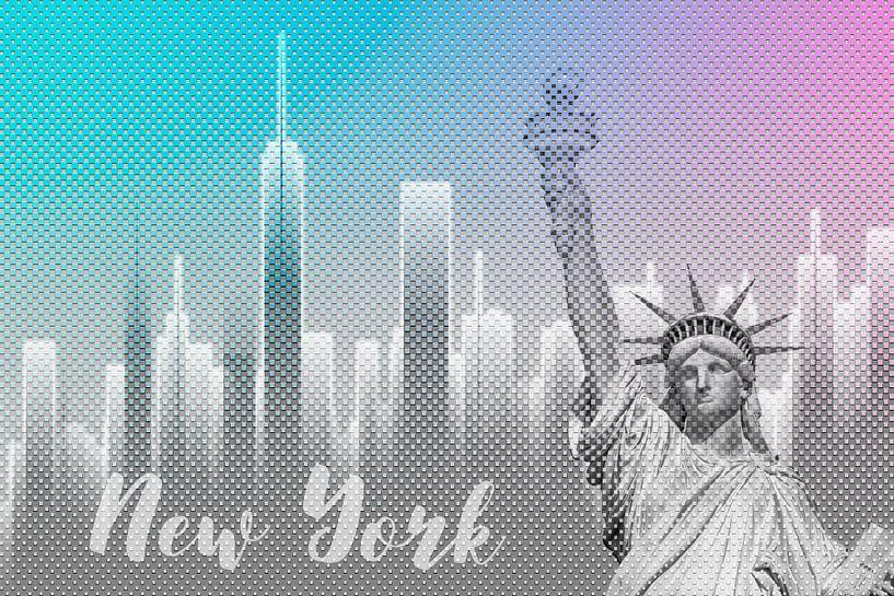 Graphic Art NEW YORK Mix No. 4 | funky cyan and pink van Melanie Viola