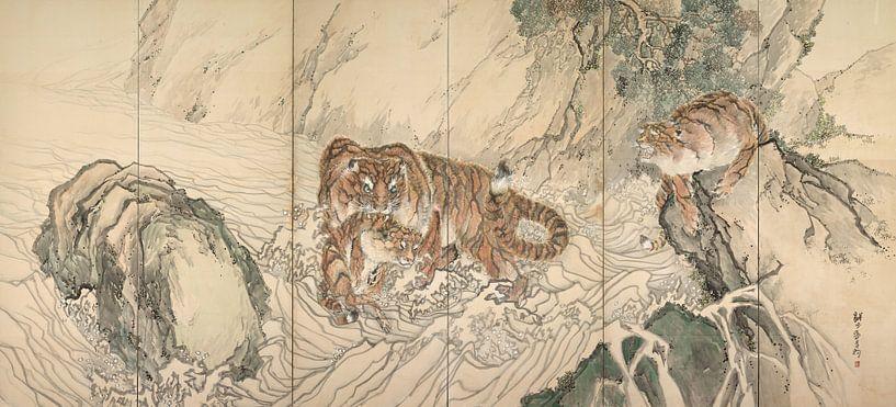 Kishi Ganku - Tigerfamilie von 1000 Schilderijen