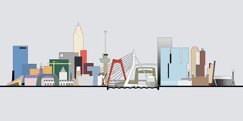 Rotterdamse skyline in kleur