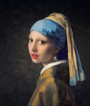 Fille moderne avec la boucle d'oreille en perle sur Arjen Roos