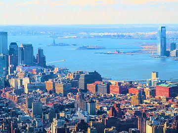 Manhattan met uitzicht op de Hudson rivier van Thomas Zacharias