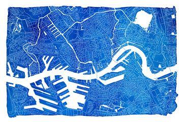 Rotterdam Stadskaart | Blauw met een witte kader