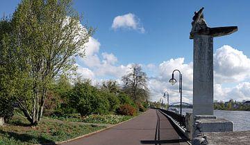 """Monument """"de veerman"""" aan de oever van de Elbe bij Maagdenburg van Heiko Kueverling"""