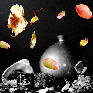 Zwart wit stilleven met gekleurde bladeren van Cora Unk