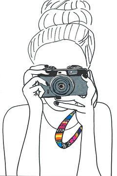 Illustratie fotograaf zwart wit