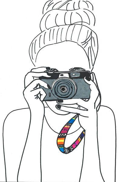 Illustratie fotograaf zwart wit van Schildermijtje Shop