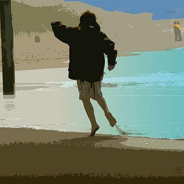 Jongen aan het strand van Karin Keesmaat Kijk-Kunst