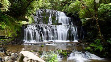 De waterval van Purakaunui - Nieuw Zeeland van Maurits Simons