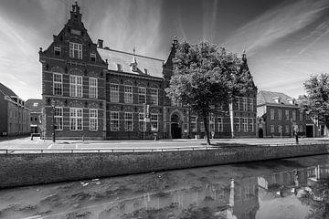 Baraque de digues Kampen en noir et blanc sur Fotografie Ronald