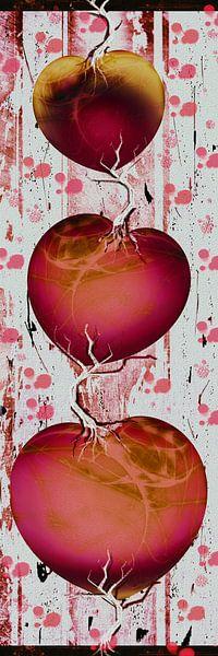 Herzgirlande - rot von Christine Nöhmeier