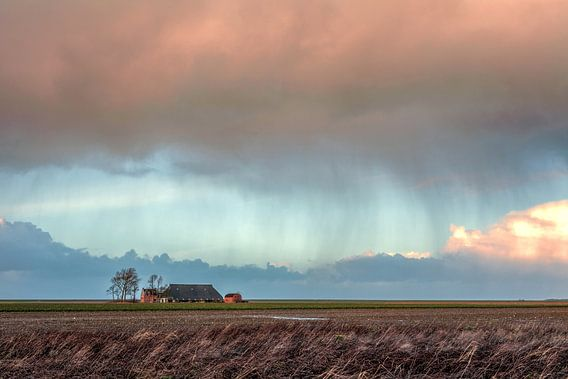 Regen in de polder Noordpolder  van R Smallenbroek