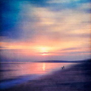 Rustig strand - Zonsondergang Atlantische Oceaan van Dirk Wüstenhagen