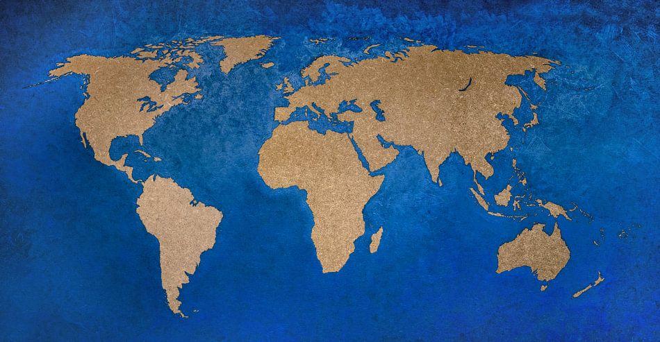 Wereldkaart in Petrol - Schilderij
