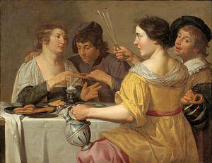 Jan van Bijlert, Fröhliche Vierer, Brezeln essen, Brezel ziehen - 1630er Jahre