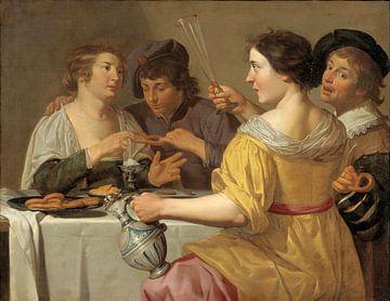 Jan van Bijlert, Fröhliche Vierer, Brezeln essen, Brezel ziehen - 1630er Jahre von Atelier Liesjes