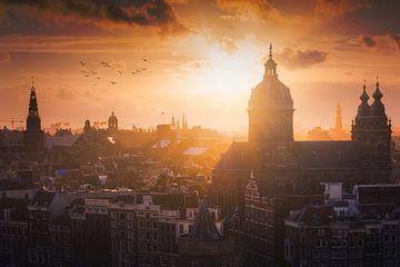 Amsterdam Skyline Sonnenuntergang von Albert Dros
