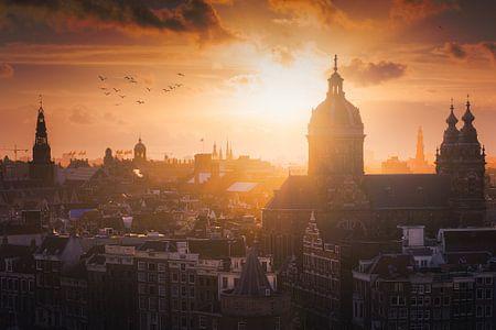 Amsterdam skyline zonsondergang