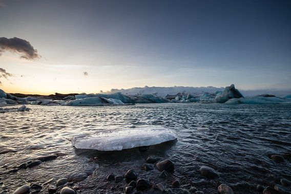 IJsrots in Jökulsárlón gletsjermeer