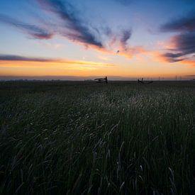 Zonsondergang polder Mastenbroek van Rick Kloekke