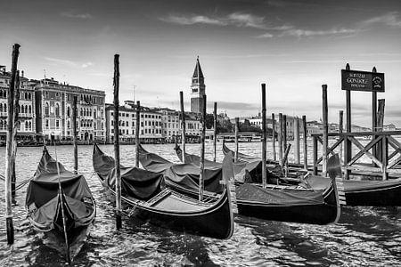 VENEDIG Canal Grande & Gondeln in schwarz-weiß
