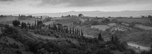 Monochrome Tuscany in 6x17 format, landschap nabij San Gimignano