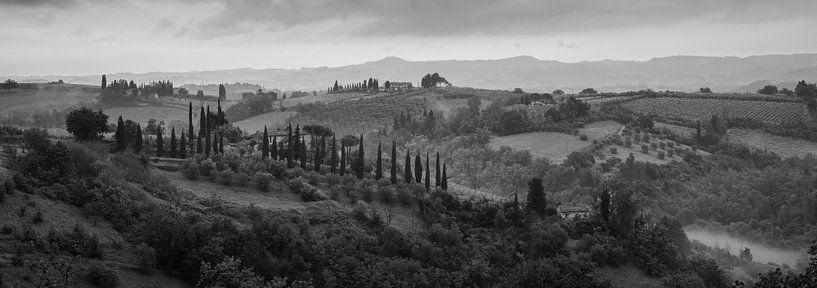 Monochrome Tuscany in 6x17 format, landschap nabij San Gimignano van Teun Ruijters