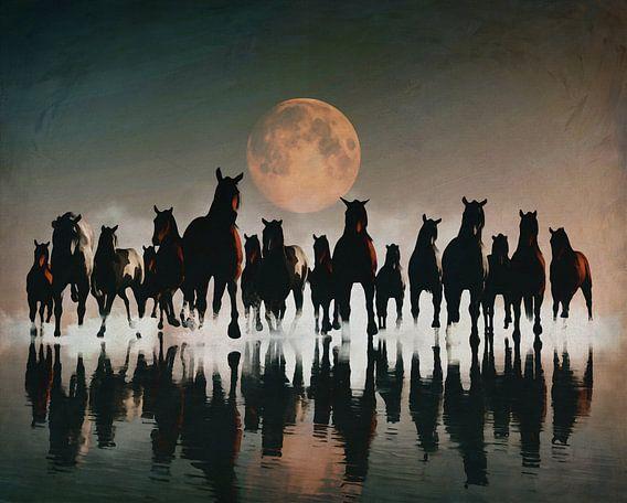 Kudde paarden in de avond aan zee